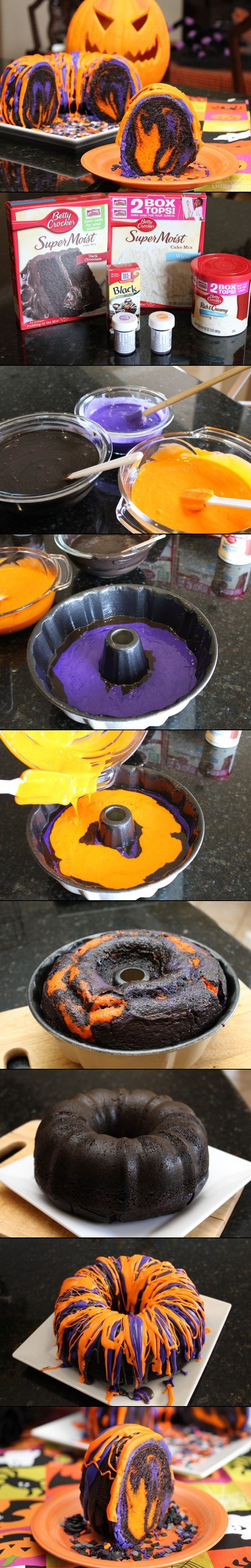 Orange & Purple & Black Cake, maybe use black food coloring instead of the chocolate cake