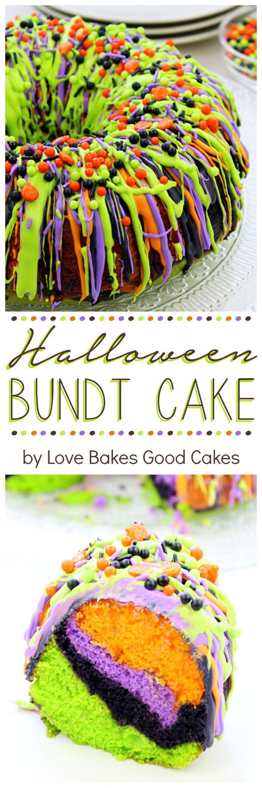 "Halloween Cake | ""Oooh"" and ""aah"" your guests with this impressive Halloween Bundt Cake! It is so colorful and it's easy to make."