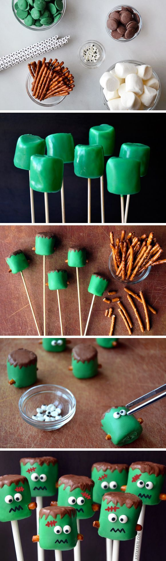 Ab wants to make these for our Halloween Party :-) Frankenstein Marshmallow Pops #recipe #halloween