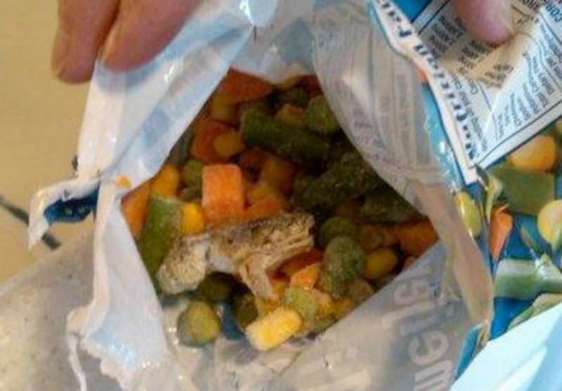 Tim Hoffman found a little frog frozen in his bag of mixed frozen vegetables.