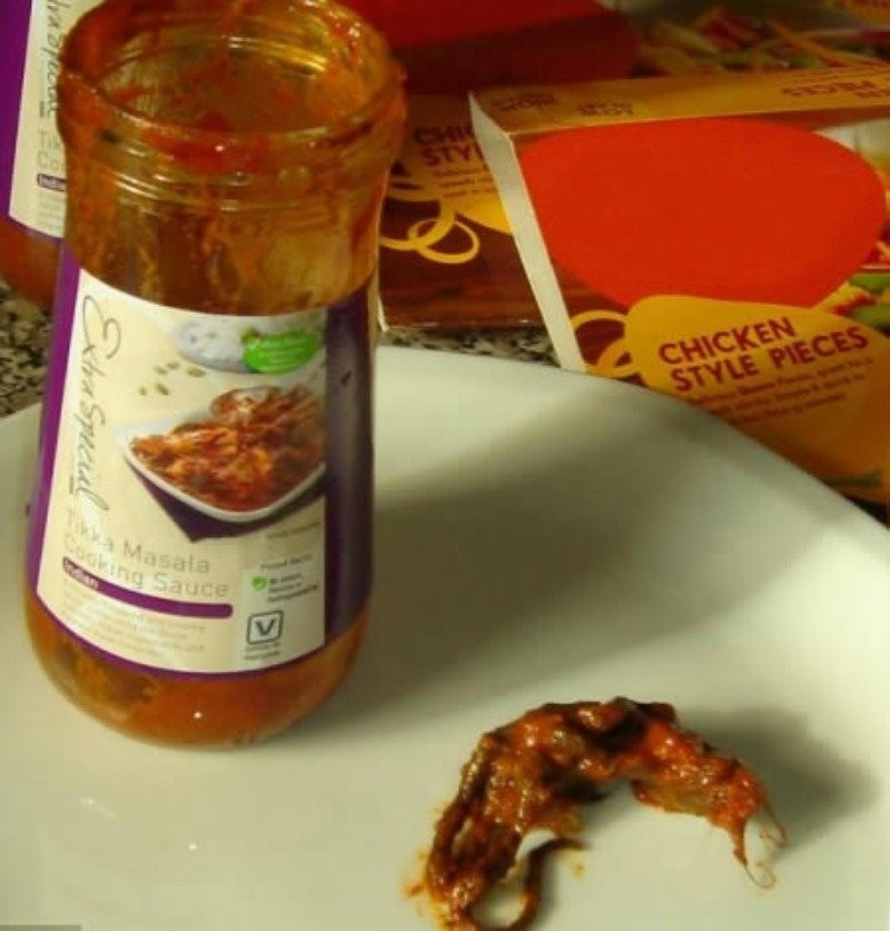 A dead rodent was found inside a jar of tikka masala sauce by Cate Barrett. Well, she actually found it when her boyfriend started to make dinner and found a lump when he dumped the sauce out to heat it.