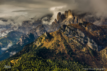 Dolomite mountains in morning light.
